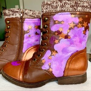 OOAK Moon, Stars & Clouds Brown Boho Booties